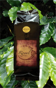 100% Pure Kona Coffee in Royal Islander Coffee one pound bag.